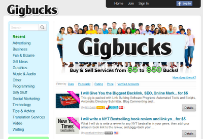 Gigbucks alternative to fiverr