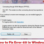 How to Fix Error 651